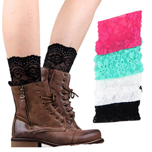 Stretch Lace Boot Cuffs Mujeres CHICAS CALENTADORES DE PIERNAS Lace Flower Boot Socks Knee
