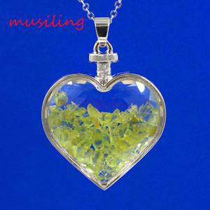 Bijoux naturels Pierre coeur pendentifs bijoux pendule grenat améthyste etc verre de verre coeur souhaitant bouteille charmes bijoux de mode