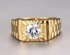 homens de Moda de Nova Alta Qualidade sumptuoso de ouro 18K Zircon 3A aço inoxidável Bling Branco Rhinestone partido anel de casamento Jóias RC-184