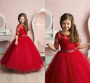 Red Princess Pageant Girls Dresses 쥬얼리 넥 반소매 플라워 걸스 드레스 레이스 아플리케 크리스털 퍼스트 친목 드레스