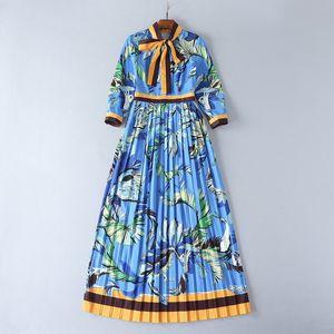 2017 Autumn Women Print Dress Flora Print Crew Neck A Line Ankle Length Long Sleeve Empire Cotton Polyester Blue Women Clothes sh