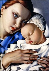 lempicka-mother-and-child, 정품 Handpmade Tamara De Lempicka 캔버스에 초상화 아트 유화, 사용자 정의 크기