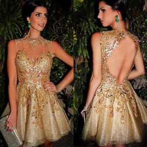 2019 Gold Illusion Tulle Lace Vestidos de cóctel cortos Mini Short Backless Lace Party Prom Vestidos de noche