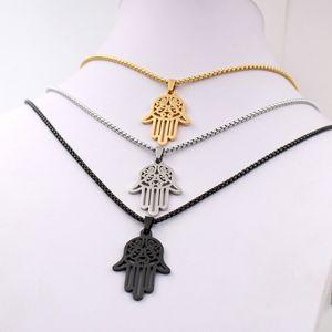 Oro nero argento scegli Uomo ICP 316L Acciaio inossidabile nero Mano di Fatima Hamsa Ciondolo con scatola da 3 mm 24 pollici con scatola Rolo abbinata