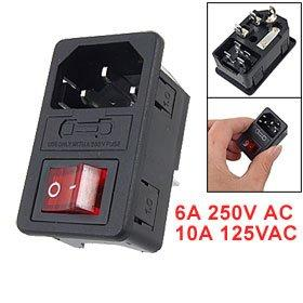 Wholesale-New Hot Sale Inlet Male Power Socket with Fuse Switch 10A 250V 3 Pin IEC320 C