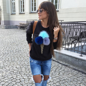 Autumn kawaii Women faux fur ball hoodie Sweatshirt Pom Pom Plush Balls Long sleeve O-neck Causal sweaters and pullovers