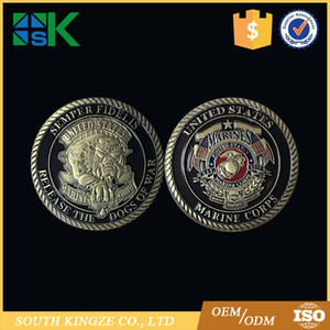 Free Shipping Delivery 10PCS Wholesale Cheap Price USMC Release The Evil Dog Colored Challenge Coin including Capsule