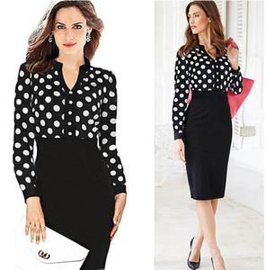 Mode de gros femmes Casual Dress Striped Black Polka Dot Blouse en mousseline de soie Blouse taille haute crayon robes pour OL travail costumes Slim dentelle élégante