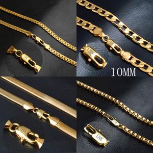 Sıcak satış erkek 18 K Altın kaplama zincirler Figaro / Yılan / Kutu Zincir kolye kadınlar Için s Hip hop Takı Aksesuarları toplu