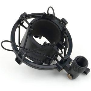 Negro / Plateado T2 3 KG Batería soportable Micrófono Montaje de choque Soporte de clip Soporte Radio Estudio Soporte de grabación de sonido Profesional 43-50MM