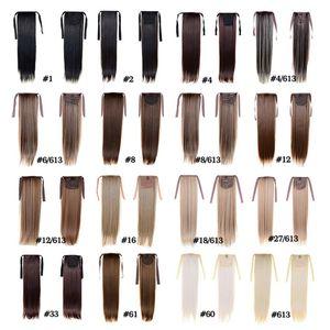Ponytail Hairpieces de las mujeres de la manera 50cm 22inch 100g Extensiones sintéticas del pelo Cordón Ponytail Hair Ponytail largo y recto Hair 15 Color