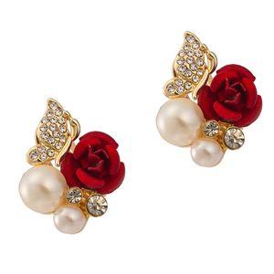 18k Petit Petit Argent Plaqué Élégant Lady Girls Crystal Red Femmes Rose Imitation Perle Perle Fashion Jaune Gold Flower Boucle d'oreille Bijoux OLFB