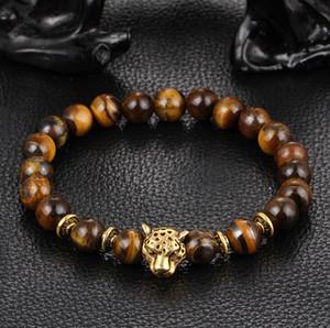 Moda caliente natural ágata lapislázuli ojo de tigre cuentas de oración pulseras pulsera joyería estiramiento leopardo cabeza de león