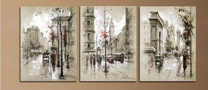 Moderna decorazione per la casa astratta della tela di canapa pittura retro città strada paesaggio immagini pitture decorative 3 pannello di arte della parete senza cornice