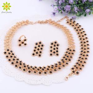 Африканские бусы Черное Кристалл Ожерелье Серьги Серьги Браслет Ювелирные Изделия Для Женщин Позолоченные Свадебные Аксессуары