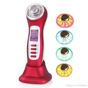 7 en 1 ultrasons Galvanic ION LED lumière Photon Thérapie vibration vibration enlèvement de l'acné Lifting du visage et Visage Minceur Beauté machine UP002