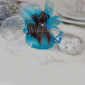Бесплатная доставка 100 шт. ракушки конфеты коробки Bomboniere пользу коробки Baby Shower Beach тема свадебные сувениры поставки