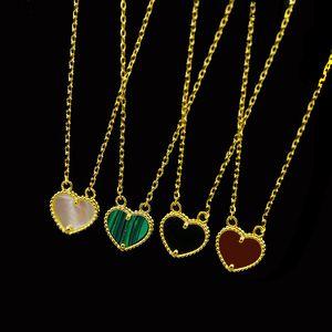 2019 Мода простой и сладкий форме сердца с натуральным камнем гальваническим 18K золотой персик сердца оболочки агата ожерелье малахит Любовь