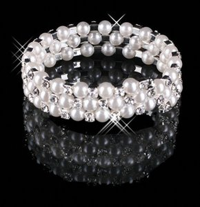 Cheap 3 Row Pearls Stretch Bangle Silver Rhinestones Kids Proms Festa De Casamento Bracelete De Jóias Da Noite 15013