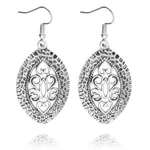 Einzigartige ethnische tibetischen Silber hohlen Blume Wasser Tear Drop Mode Retro Vintage Ohrringe für Frauen baumeln Kronleuchter 6