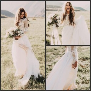 2020 Новый элегантный Vintage Secret Country Style Кружева Свадебные платья с длинными рукавами Назад Zipper Modest Sweep Поезд свадебное платье 343