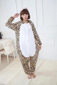 플란넬 겨울 잠옷 Unisex Leopard 베어 동물 의상 잠옷 Mujer 여성 후드 슬리퍼 세트 All in One Garment