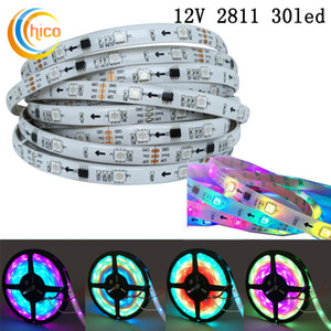 WS2811 Direccionable Tira de LED inteligente Luz de cinta 5050 RGB SMD 150 píxeles Sueño Color Efectos cambiables Impermeable IP65 Negro / Blanco PCB DC12V