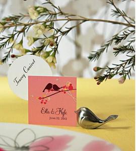 Commercio all'ingrosso Nuovo design love bird argento carino piccolo titolare della carta luogo di nozze, regalo di nozze, bomboniera