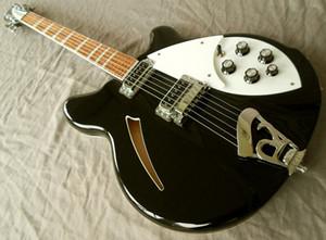 Özel Ric John Lennon Jetglo 330 6 Dize Yarı Hollow Vücut Siyah Elektro Gitar Tek Delik, beyaz MOP Üçgen klavye Kakma