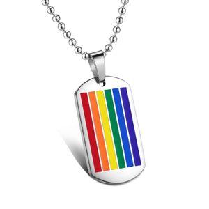Vnox Jóias de Aço Inoxidável Arco Íris Gay Lésbica Orgulho Quadrado Dog Tag Pingente Lgbt Colar com Cadeia Colar Livre, prata,