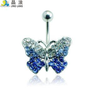 2016 Novo Design de Alta Qualidade Moda Prata Pólo Azul Cristal Borboleta Umbigo Piercing Anéis para As Mulheres Body Piercing Jóias