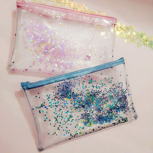 PVC Bling Star Pattern Sac cosmétique Transparent Sac de maquillage étanche avec fermeture éclair Travel Wash Case Pouch Trousse de toilette