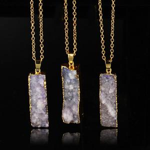 Lmunh nakliye zinciri Kuvars Takı altın kaplama mavi dilimlenmiş akik Düzensiz taş Druzy kolye Toptan kolye Doğal ücretsiz Kristal
