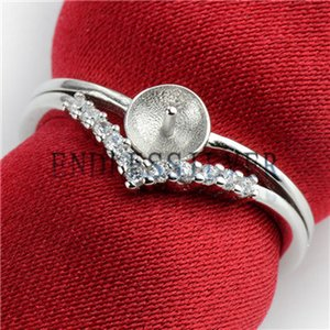 Triangle Crown shaped Ring Settings Zircon 925 Sterling Silver Jewellery Findings Pearl Mounting per Pearl Party