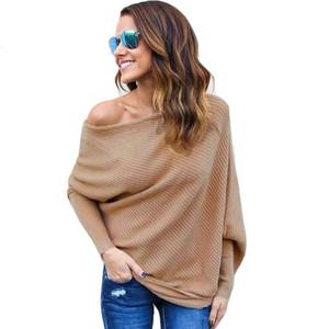 Mode Frauen Pullover mit Fledermaus-Boot-Ausschnitt Herbst beiläufige gestrickten Pullover Pullover Pullover losen Qualitäts-Frau Feste Kleidung