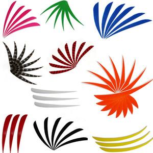 Multicolor Waterdrop Shape Left Wing 4 '' Plumes pour les flèches de tir à l'arc en bois de bambou en fibre de verre Chasse et tir
