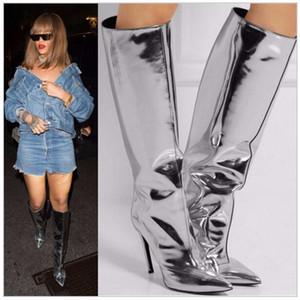 Fashion Design Metallic Mirror Leder Silber Kniehohe Stiefel Plain Pointed Toe Stiletto High Heels Oberschenkelhohe Stiefel Über dem Knie Frau