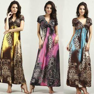 2016 summer beach dress bohemian women dress vestidos casual Silk dress Leopard grain drag ground wave maxi dress Sexy deep v neck dress