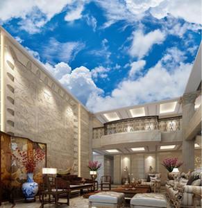 Özel 3d Stereoskopik Duvar Kağıdı 3d Tavan Mavi gökyüzü ve beyaz gökyüzü Dekorasyon Boyama Tavan Resimleri Duvar Kağıdı Duvarlar 3 d