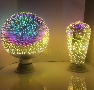 ST64 G80 G95 5W fuegos artificiales bombilla de la lámpara de filamento e27 decorativa de color 3D bombilla de Edison para la decoración de casa de vacaciones