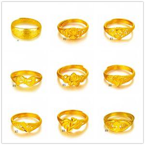 Anillo de oro amarillo de la hoja de Dragon Bow Lotus 9 pedazos mucho estilo mezclado GTKR1, anillo de oro de la manera abierta de la venta abierta 24k de las mujeres
