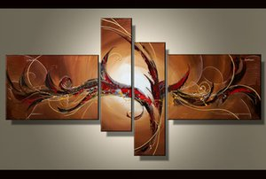 100% hand painted High quality Abstract 4 Panels Large Modern wall art oil painting on canvas Home Decoration picture Office Hotel Decor A68