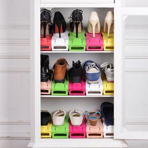 Espesar Estante para zapatos Ajustable Resistente al desgaste Soportes de almacenamiento interior a prueba de moho Zapatos de color sólido Soporte Durable 2 8yy BB