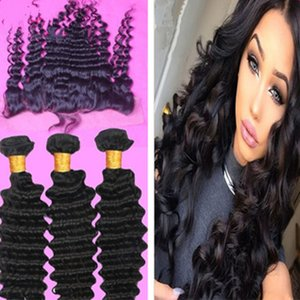 New Arrival Ear To Ear Lace Frontals With 3Pcs Deep Wave Hair Bundles Free Part Virgin Human Hair Lace Frontal With Hair Weaves