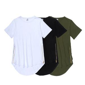 2016 100% de algodão Long Oversize T-shirt Preto Side Zipper T Shirt Homme Curvo Hem Estender o transporte livre Fold multi Tee