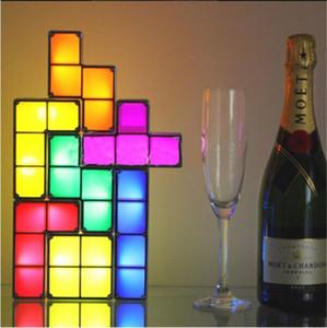 Diy tetris luz do enigma empilhável led lâmpada de mesa constructible bloco led light toy retro jogo torre bloco bebê nightlight