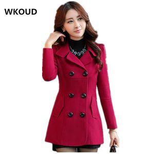 Atacado-WKOUD mulheres casacos de lã inverno trench coat moda sólida Double Breasted sobretudo Turn-down Collar Slim Outerwear C8103