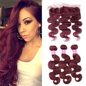8A brasiliana vergine dei capelli 3 bundles con pizzo frontale chiusura colore 99J vino rosso onda dell'onda capelli umani tesse con pizzo frontale