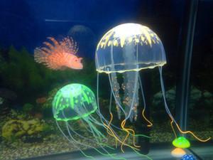 Grande Estilo 6 Opcional 10 * 21 cm Artificial Glowing Medusa com Otário Tanque de Peixes Decoração Do Aquário Acessórios de Aquário Acessórios