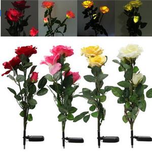 태양 광 조명 풍경 조명 3 장미 꽃 LED 가든 마당 잔디 Decro 장식보기 램프 빨강 / 노랑 / 흰색 / 핑크